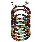 YISSION 7 Pack 7 Chakras Stones Bracelet Adjustable Beaded Prayer Yoga Bracelets, Unisex