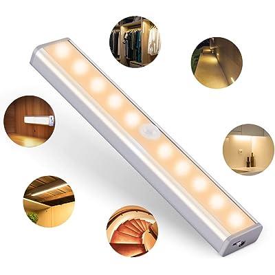 OUSFOT Luz Armario con Sensor de Movimiento Luz Sensor para Armario USB Recargable LED Armario con 2 Tiras Magnéticas Pegadas Lámpara Nocturna Ideal para Armario Garaje Gabinete Escalera