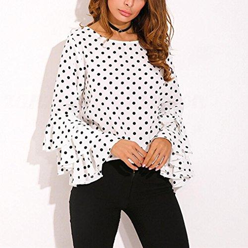 IEason Women Blouse, 2018 Fashion Womens Bell Sleeve Loose Polka Dot Shirt Ladies Casual Blouse Tops (2XL, White)