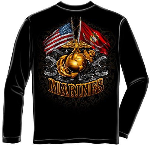 US Marine Corps Hooded Sweatshirt, 50/50 Cotton Poly Blend Mens Shirts, Show Your Pride with Our Double Flag Gold Globe Marine Corps Foil Stamp Long Sleeve Sweatshirts for Men Or Women (XX-Large)