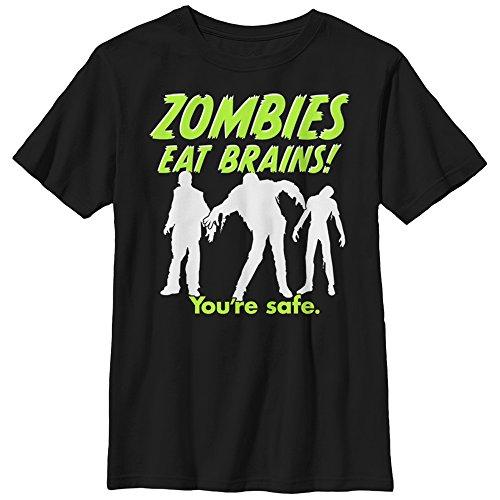 Boys' Halloween Zombies Eat Brains Silhouette Black T-Shirt ()