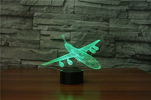 3dランプIllusion光学式LEDナイトライト、7色変更withリモートデスクランプ、寝室ホームデコレーション3d Light Night for Kids One Size B078T9FWC3