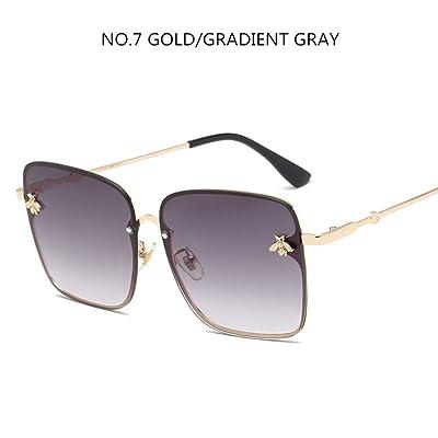 ZHOUYF Gafas de Sol Cuadrados De Lujo Abeja Gafas De Sol Mujeres Hombres Retro Diseñador De La Marca Marco De Metal Gafas De Sol De Gran Tamaño Mujer Grandient Shades Oculos, D: Deportes y aire libre