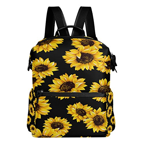 WOZO Yellow Sunflower Black Polyester Backpack Purse School Travel Bag