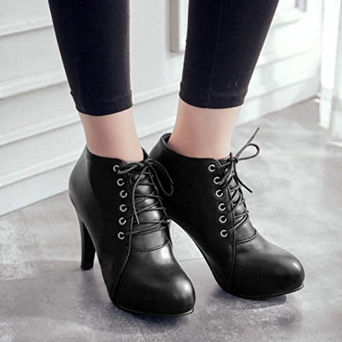 Agodor Womens Lace Up High Heels Ankle Boots Round Toe Elegant Winter Shoes Black Z2sR146