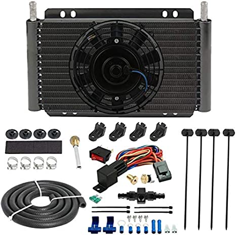 American Volt 11 Engine Transmission Oil Cooler 6 Inch Electric Cooling Fan /& 6AN In-line Hose Thermostat Switch Wiring Kit 210F On - 195F Off