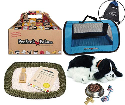 Perfect Petzzz Huggable Breathing Puppy Dog Pet Bed Cocker Spaniel with Blue Tote For Plush Breathing Pets, Dog Food, Treats, and Chew Toy ()