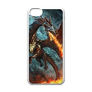 Diy Red Dragon Phone Case for iphone 5c White Shell Phone JFLIFE(TM) [Pattern-1]