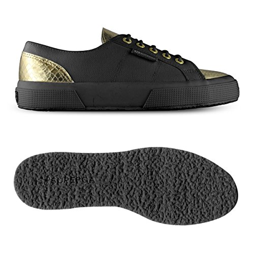 Superga 2750-COTLEASNAKEU BLACK-GOLD