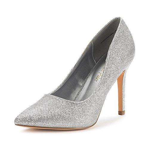 DREAM PAIRS Women's Christian-New Silver Glitter High Heel Pump Shoes - 7.5 M US