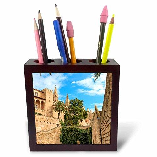 3dRose Danita Delimont - Cities - Spain, Balearic Islands, Mallorca, Palma de Mallorca, stone towers - 5 inch tile pen holder (ph_277905_1) by 3dRose