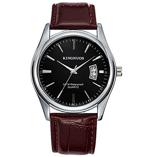 K-Martins Mens Wrist Watch Black Face -Quartz Analog Roman Numeral with Classic Brown Leather - Waterproof 10 Years Batteries - Fashion Casual Unique Dress - Business Office Work School Watches by K-Martins