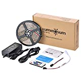 LUMINOSUM WS2812B LED Strips Kit, 16.4ft   150pixels Individually Addressable WS2811 Chip, Waterproof with Dream Color Wireless Controller and DC5V Power Supply