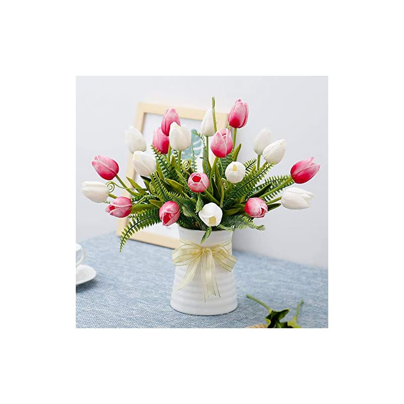 silk flower arrangements yiliyajia artificial tulips flowers with ceramics vase fake tulip bridal bouquets real touch flowers arrangement for home table wedding office decoration(white&red)