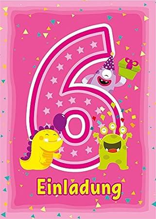 10 Einladungskarten Zum 6 Kindergeburtstag Rosa Einladungen Zum
