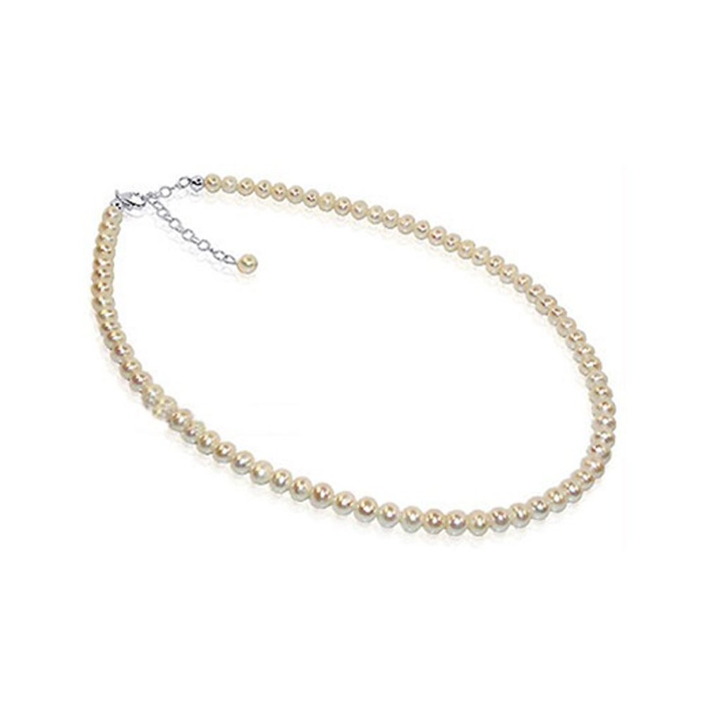 Gem Avenue 925 Sterling Silver White Freshwater Pearl Single Strand Necklace