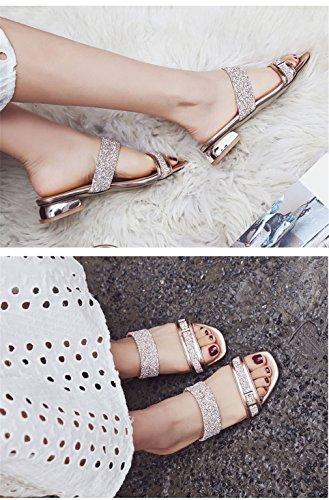 Lumino Bas D'été Sandales Diapositives Dames Sandales Plage Glitter Causal Chaussures Femmes Gold Pantoufles Talon Femmes 0rUwxE0gq