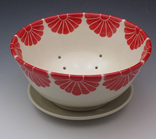 - Porcelain Berry Bowl, pottery colander with plate, handthrown and handpainted in red flower design