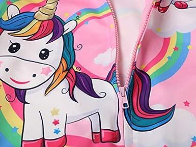 Leslady Magliette per Ragazze Cartoon Unicorno Felpa con Cappuccio 3D Stampa con Zip
