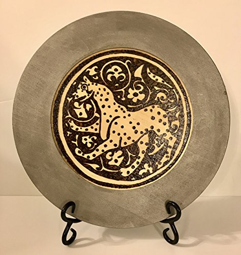 The Arabesque's Medieval Islamic Lioness On Antique Silver Wooden Decorative Plate. Seljuk Art Woodburned - Handcrafted Home Decor