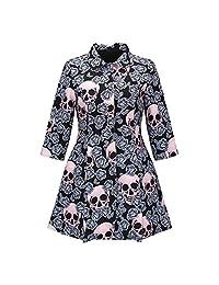 Gothic Skull Jacket Women Winter Autumn Rose Pink Elegant Jacket Mid-Long Outerwear Button Plus Size Jacket New Coat HOT
