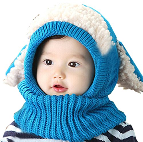 TAORE Baby Girls Boys Winter Hat Scarf Earflap Hood Scarves Skull Caps (Blue)