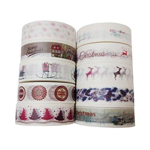 Leo's Choice 1.5cmX10m Cute Christmas Washi Tape 10 Rolls