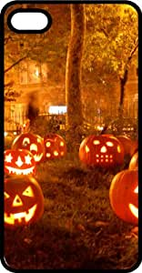 Lawn of Halloween Carved Pumpkins Black Plastic Case for Apple iPhone 4 or iPhone 4s