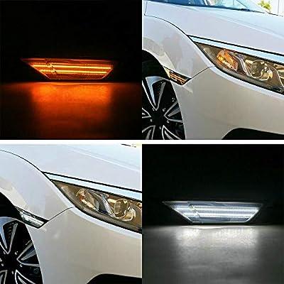 Led Side Marker Lights for Honda Civic 2016 2020 2020 2020 2020 Sedan Coupe Hatchback Led Switchback Amber Side Marker Turn Signals White Led Running Position Light: Automotive