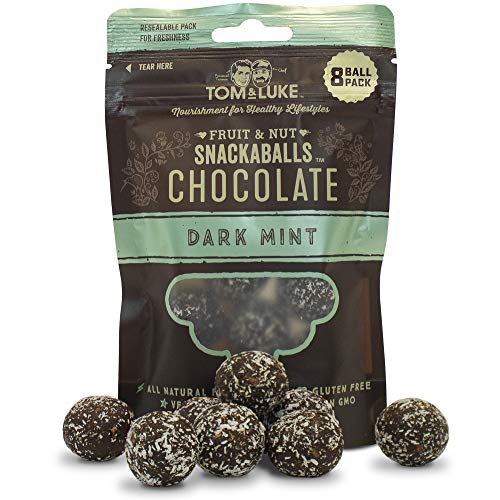 Tom & Luke Healthy Snacks (6 Packs x 8 Balls) - Delicious Dark Mint Chocolate Snack Balls for Adults - Vegan, Gluten Free, Dairy Free & No Added Refined Sugar - Whole Food Fruit & Nut Energy Boost
