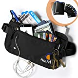 Travel RFID Blocking Money Belt - Hidden Wallet & Passport Holder (Black)