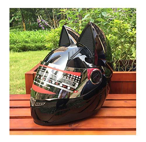 Homesave Casco de la Motocicleta, Hombres y Mujeres Racing Personalidad Cuatro Estaciones Casco de Seguridad del Gato Casco...