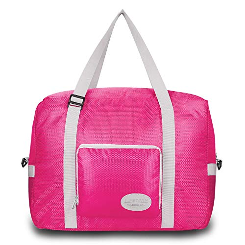 Foldable Duffel Bag For Women & Men – Lightweight Duffle For Luggage Gym Sports (Pink) For Sale