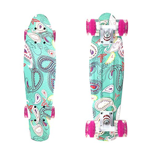 Wonnv Retro Mini Cruiser 22 inch Complete Skateboard (Design)