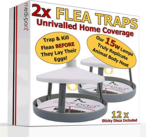 2x ULTIMATE FLEA TRAPS by Medipaq + 12 Sticky Discs - The ONLY 15 Watt Trap...