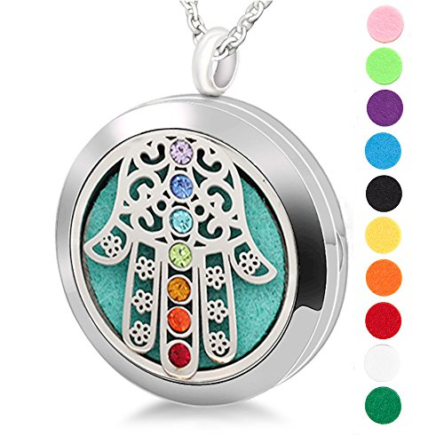 Cool me Cool Hamsa 30mm Chakra Lockets Aromatherapy/Stainless Steel Essential Oils Diffuser Locket Necklace -