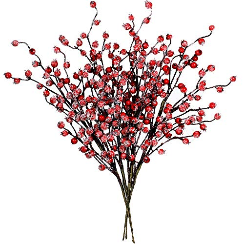 "4 Pack ICY Red Berry Picks Artificial Christmas Berry Spray Iced Berry Stems Red Berry Twig Branches for Christmas Holiday Winter Floral Arrangement Centerpiece Seasonal Decoration 18.8"" Tall"