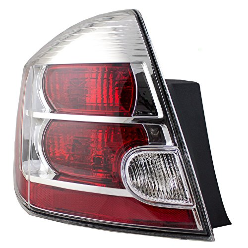 Drivers Taillight Tail Lamp with Chrome Bezel Replacement for 2007-2009 Nissan Sentra 26555ET00B AutoAndArt