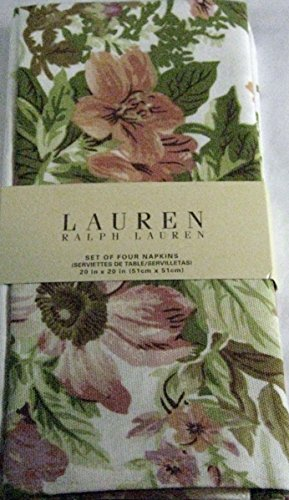 Ralph Lauren Set of Four Brittany Floral White Cotton Napkins