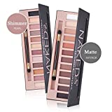 natural makeup palette - Makeup Naked Eyeshadow Palette 12 Color Natural Nude Matte Shimmer Glitter Pigment Eye Shadow Pallete Set Waterproof Smokey Professional Cosmetic Beauty Kit BESTLAND (2 PCS)
