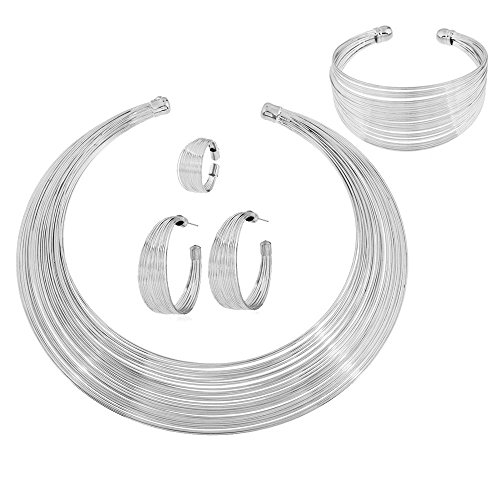 Womens Silver Plated Alloy African Jewelry Set Multi-Layer Chain Choker Necklace Hoop Earrings Cuff Bangle Bracelet Ring Set -