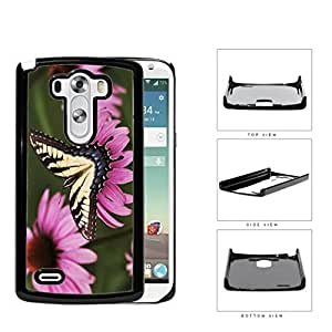 Yellow Butterfly And Pink Flower Garden Hard Plastic Snap On Cell Phone Case LG G3