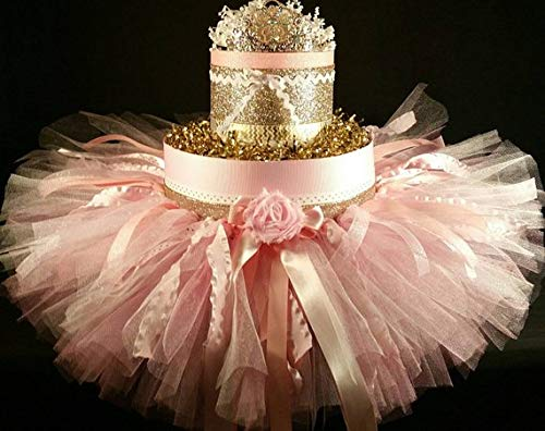 Pink & Gold Diaper Cake Tiara Tutu Baby Girl Baby Shower Gift Newborn Baby Birthday Gift for her Hair Bows]()