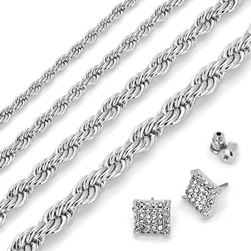 L2JK Silver Plated Hip Hop High Fashion Rope Chain Necklace 3mm - 6mm/20