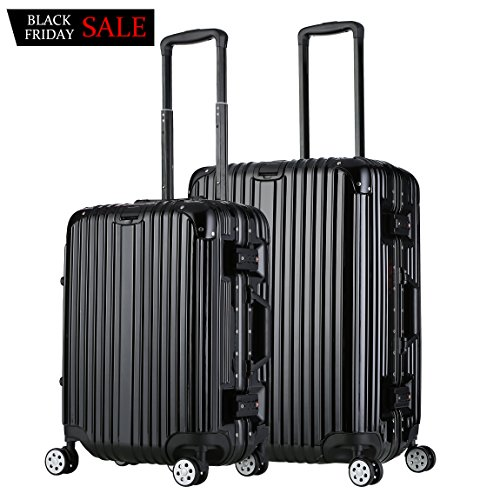 Luggage Set Lightweight Spinner Suitcase Travel Bag Trolley Rolling Suitcase 2 Piece Black by Besteamer