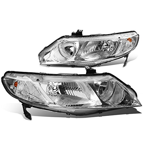 For Honda Civic Sedan Pair of Chrome Housing Clear Corner Headlight - 8th - Civic Honda 2011 Sedan Headlights