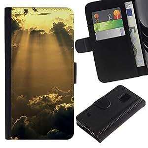 All Phone Most Case / Oferta Especial Cáscara Funda de cuero Monedero Cubierta de proteccion Caso / Wallet Case for Samsung Galaxy S5 V SM-G900 // Sunshine Glow Clouds