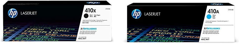 HP 410X (CF410X) Black High Yield Original LaserJet Toner Cartridge and HP 410A (CF411A) Cyan Original LaserJet Toner Cartridge Bundle