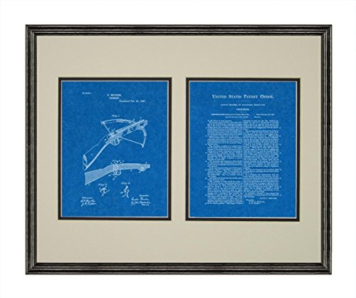 """Crossbow Patent Art Blueprint Print in a Black Wood Frame with a Double Mat (20"""" x 24"""") M12757"""