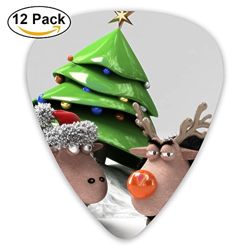 Tree Sheep Sled Meeting Holiday New Year Guitar Pick 0.46mm 0.73mm 0.96mm 12pack,Suitable For All Kinds Of Guitars ()